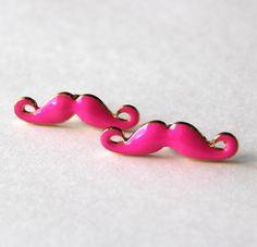 Mustache warrings golden and fluero pink enamel by Bunnys on Etsy, $18.00