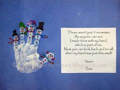 Handprint Snowman with poem. this website has adorable handprint/footprint art ideas. love love love it christmas cards, craft art, footprint art, handprint snowman, art crafts, snowman crafts, handprint art, hand prints, hand art