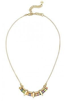 The multi colored discs on a vintage gold chain make this unique necklace stand out. Make any outfit pop with this mini statement necklace from Stella & Dot.
