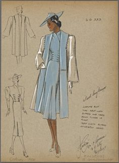 Blue Suit for Women (Spring 1938) Sketch by Andre from the NYPL Picture Collection