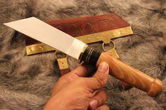 Viking Sax KnifeScabbard With Brass Seax Knife with by eKnifeshop