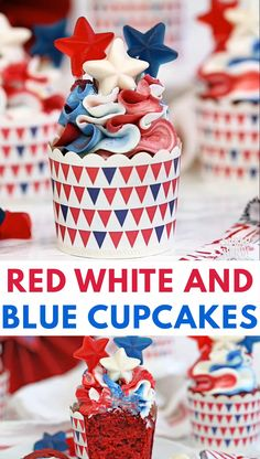 Red White and Blue Cupcakes Video These Red, White and Blue Cupcakes are perfect for the Fourth of July! Moist red velvet cakes are topped with beautiful ruffles of red, white, and blue buttercream. 4th Of July Cake, 4th Of July Desserts, Fourth Of July Food, July 4th, 4th July Cupcakes, Patriotic Cupcakes, Patriotic Desserts, Patriotic Crafts, Patriotic Party