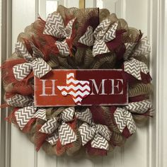 House Divided Wreath, UT And A&M House Divided Burlap Wreath, Longhorn and…