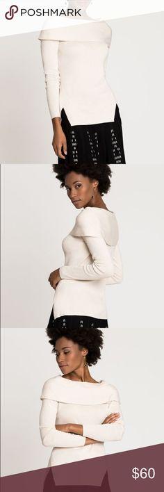 NWT NIC + ZOE Vista Sweater Cream Long Sleeve Med New with tags, NIC + ZOE Vista sweater, cream colored, long sleeve sweater with lovely details like a folded neckline and side slits. Size medium - retails for $128. NIC+ZOE Sweaters