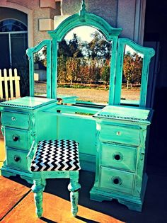 Sold Mandy Aqua blue green distressed vanity by PopOfColorDesignz, $1.00