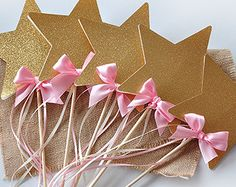 Pink and Gold Birthday Party Decoration - Star Wands 5CT - Fairy Wands