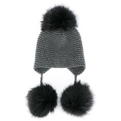 Inverni fox fur triple pom pom beanie hat (1,170 BAM) ❤ liked on Polyvore featuring accessories, hats, grey, beanie cap hat, pompom hat, beanie hat, grey hat and beanie caps