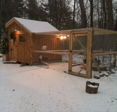 10 x 10 foot walk-in coop. Just right for a flock in a large backyard.