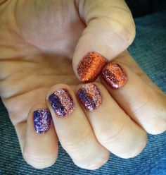 Orange to purple glitter nails