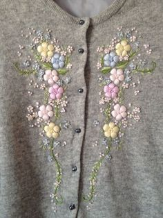 vintage grey floral embroidered cardigan by shopwhen on Etsy Embroidery On Clothes, Wool Embroidery, Embroidered Clothes, Hand Embroidery Stitches, Silk Ribbon Embroidery, Hand Embroidery Designs, Embroidery Dress, Cross Stitch Embroidery, Broderie Simple