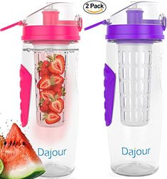 Fruit Infuser Water Bottle 32 Ounce NO BPA Sports Flavor Infusion Bottle - PLUS Recipe Ebook and Cleaning Brush INCLUDED (2 PACK - PINK&PURPLE) ** Details can be found by clicking on the image.
