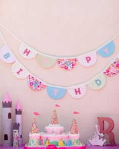 Princess Party Table with Cake, Banner, Crown Cookies and Paper Castles