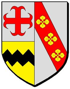 A modern representation of the arms of Mairy-Mainville, which quarter the arms of von Ruland, which are the same as that of Vavasour, being or, a fess dancetty sable.