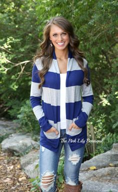 The Pink Lily Boutique - Blue Rugby Cardigan , $32.00 (http://thepinklilyboutique.com/blue-rugby-cardigan/)