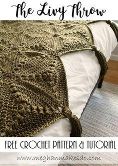 The Livy Throw-Free Crochet Pattern — Meghan Makes Do - Modern crochet patterns - Crochet Diy, Crochet Home, Crochet Granny, Learn To Crochet, Crochet Crafts, Crochet Projects, Easy Knitting Projects, Crochet Owls, Crochet Animals