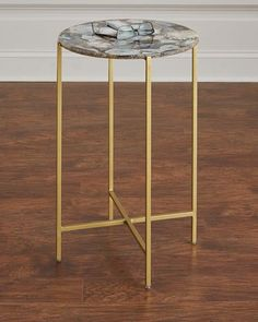 Shop Blinn Round Agate Side Table from Interlude Home at Horchow, where you'll find new lower shipping on hundreds of home furnishings and gifts. Round Side Table, Side Tables, Table Furniture, Antique Brass, Home Furnishings, Coffee Shop, Agate, Antiques, Design