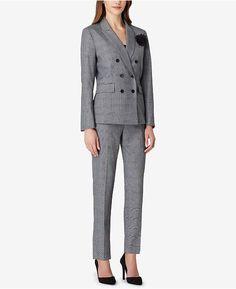 662f7bd8ef83d Tahari ASL Double-Breasted Plaid Pantsuit Women - Wear to Work - Macy s