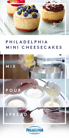 Bite-sized perfection. Mix up these mini classic cheesecakes topped with whipped cream and fresh blueberries for your next party. Or whenever you're craving a lil' something sweet. #ItMustBeThePhilly
