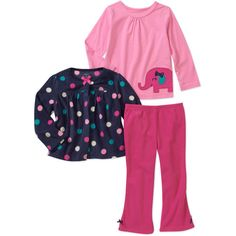 Child of Mine by Carters Baby Girls' 3 Piece Elephant, Dot Tops and Pant Set: Baby Clothing : Walmart.com