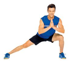 P90X: Triangle Lunge. Stand with feet together, palms touching at chest. Lunge right foot forward and to right at a 45-degree angle. Lunge left foot to left, straightening right leg (as shown). Lunge right foot back, both knees bent. Step right foot up to meet left in a standing position. Go for 30 seconds. Switch sides; repeat. #SELFmagazine