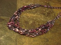 Purple and Pink Ladder Ribbon Yarn Necklace