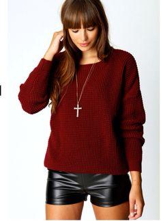 Boohoo oversized burgundy jumper - great winter warmer