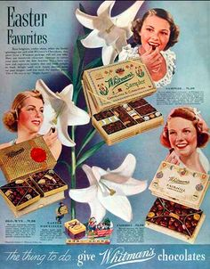 old Easter candy ads | Whitman Chocolates, artist unknown, USA, 1938