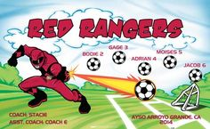 Rangers-Red-41493 digitally printed vinyl soccer sports team banner. Made in the USA and shipped fast by BannersUSA. www.bannersusa.com