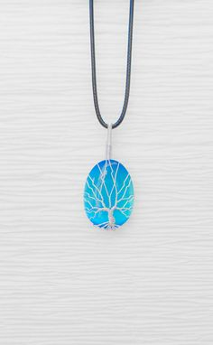 Tree of Life  silver wire wrapped Blue Cats by RecycledBeautifully