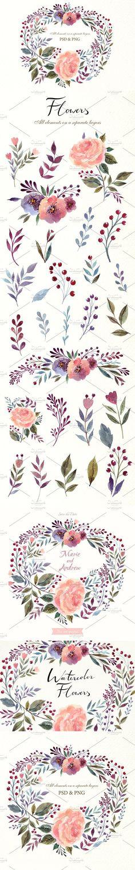 Watercolor wreath. Watercolor Flowers