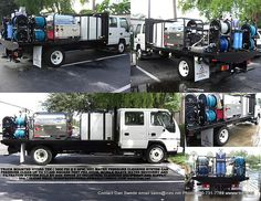 Truck mounted pressure washer with two 27 HP 3000 PSI @ 9 GPM hot water Hydro Tek units & an AZV88 waste water filtration system. Dan Swede Industrial Cleaning Equipment & Supply Phone 800-731-7789 Cell 954-778-4386 Website www.ices.net email sales@ices.net Custom Truck Beds, Custom Trucks, Pressure Washing Business, Welding Beds, Automotive Detailing, Pressure Washers, Water Filtration System, Cleaning Equipment, Water Conservation