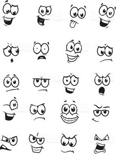 of 20 cartoon faces royalty-free stock vector art Art Vector drawings of different expressions/emotions.Set of 20 cartoon faces royalty-free stock vector art Art Vector drawings of different expressions/emotions. Doodle Drawings, Easy Drawings, Doodle Art, Simple Cartoon Drawings, Cartoon Eyes Drawing, Drawing Cartoons, Funny Drawings, Face Expressions, Pebble Art
