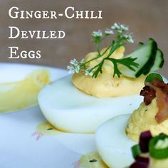 Ginger-Chili Deviled Eggs - with just a hint of sweet heat and a crisp little cucumber fan for garnish and bite, these little beauties are absolutely delicious, and pre...