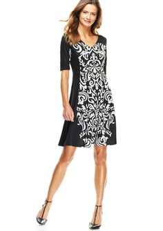 TAYLOR Black/Ivory V-Neck Mirror Print Dress