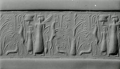 Cylinder seal: mistress of animals flanked by rampant horned animals Period: Late Cypriot II Date: ca. 14th century B.C. Geography: Cyprus Culture: Cypriot Medium: Hematite