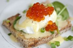 Poached Egg with Salmon Caviar and Hollandaise Sauce