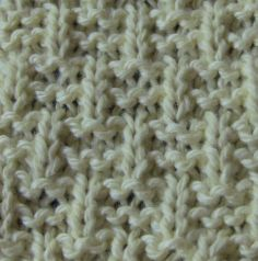 This is a nice stitch, and even though it is eight rows, it is easy to remember and works up fast. CO a multiple of 4 plus 3. Row 1 and all odd Rows: Knit all stitches  (RS). Row 2 and Row 4: *K3, P1*, end K3. Row 6 and Row 8: K1 *P1, K3*, end P1, K1. Repeat these 8 rows for the pattern.