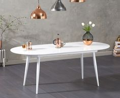 Opel White Gloss Oval Dining Table PT32472 | First Furniture |First Furniture