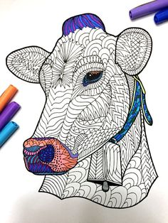 Cow  PDF Zentangle Coloring Page by DJPenscript on Etsy