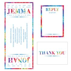 Double Layer B'nai Mitzvah Invitation. Base layer: White Vellum with tie-die print design, top layer: White Vellum with digital priniting. Accessories - Double Layer White Vellum with digital printing (Thank you card is single layer).