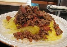 Spaghetti Squash with Italian Meat Sauce Low Calorie Recipe - Low Fat Recipe - Gluten-Free Recipe