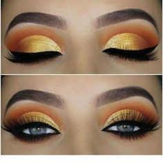Awesome gold eyes makeup - make up - Eye-Makeup Gold Eyeliner, Gold Eye Makeup, Makeup Eye Looks, Cute Makeup, Pretty Makeup, Beautiful Eye Makeup, Skin Makeup, Eyeshadow Makeup, Easy Eyeshadow