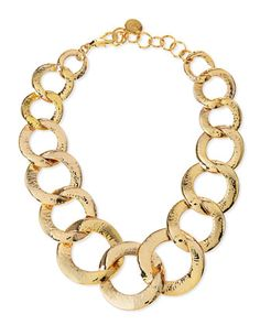 Hammered Gold-Plated Chain Link Necklace by Nest - Available at Neiman Marcus