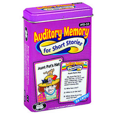 """Pick of the Week: Auditory Memory for Short Stories. Listen to short, silly stories like """"Aunt Pat's Hat,"""" """"Hannah's Bananas,"""" or """"Ollie the Octopus,"""" and then answer questions about each story. These 51 illustrated cards provide a novel and engaging approach to improving your students' auditory memory skills."""