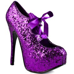Looking for 5 3 4 Purple Glitter Pumps W Ribbon Lace? Compare prices for 5 3 4 Purple Glitter Pumps W Ribbon Lace, find the best offer in hundreds of online stores! Lila High Heels, Purple High Heels, High Heels Stilettos, Stiletto Pumps, Shoes Heels, Red Shoes, Sparkly Shoes, Glitter Heels, Pumps