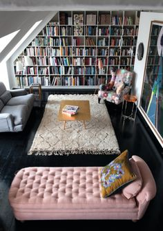 thinking of making the attic room my upstairs library. My books would probably take two walls like this but then I could have one whole section just for my reference collection.