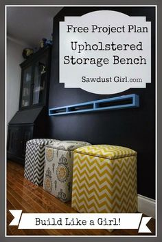 Upholstered Storage Bench - free and easy plans