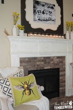 Brick Fireplace Make-over with Old Mill Thin Brick in cafe mocha :: The Pink Tumbleweed