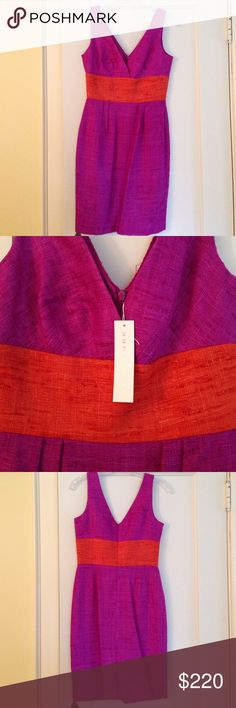 TRINA TURK Shendi dress violet/orange -4-NWT! NWT! Trina Turk silk Shendi dress. African violet/sunset. Center back zipper. Fully lined. Size 4. 34 inch bust, 36 inch hip, 36 1/2 inches shoulder to bottom hem. 100% silk. Trina Turk Dresses Midi