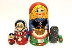 Russian Matryoshka 5p Sergiev Posad Red Cap handmade by EtsyGrail
